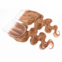 Brasilianisches Remy-Haar-Spitze-Verschluss 7a 27 # Honig blonde menschliche Haar Körperwelle Spitze Topper Haarteile 4x4 Schweizer Spitzenverschluss