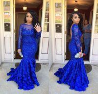 2018 Lindo Azul Royal Sereia Vestidos de Baile para Menina Negra Frisada Lantejoulas Mangas Compridas Cansado Ruffled Prom Vestidos Mulheres Vestido de Festa À Noite