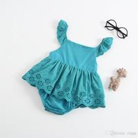 Vêtements d'été pour bébé bébé volant sans manches évider fleur barboteuse bébé fille escalade été barboteuse bébé vêtements pour enfants
