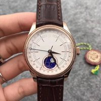 2018 New style classic mens watch white dial gold case brown...
