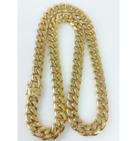 """Men 18k Yellow Gold Stainless Steel 12mm 24"""" Miami Cuban Curb Link Chain"""