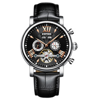 KINYUED  Skeleton Self Wind Automatic Mechanical Men Watch 3ATM Water-Proof Genuine Leather Man Business Wristwatch Chrono