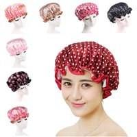 Shower Caps Women Colorful Print Wave Points Bath Shower Of ...