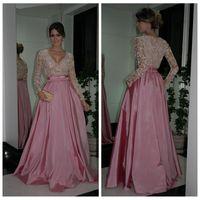 Кристалл бисером вечерние платья 2018 платья знаменитостей ну вечеринку розовый персик сексуальный формальный плюс размер винтажные платья выпускного вечера скромные длинные рукава