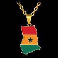 لون الذهب أفريقيا غانا خريطة / العلم قلادة للنساء / رجال الغاني خرائط بلد الوطني اليوم الوطني هدية مجوهرات