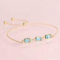 Hutang Blue Topaz CZ 925 Sterling Silver Link Bransoletki Yellow Gold Color Gemstone Deklarowana Biżuteria Regulowana Bransoletka dla kobiet