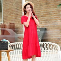 ALMUERK New Summer Women Dress Short Sleeve O- Neck Casual Fe...