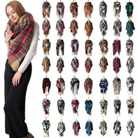 37 Styles Winter Plaid Scarf Square Tassel Scarves Oversize ...