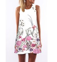 Women Sleeveless White Floral Dresses Casual Dress Party Wed...
