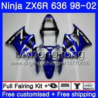 ZX-6R voor Kawasaki ZX600 600CC ZX636 ZX6R 98 99 00 01 02 212HM.19 ZX-636 ZX 6R 636 6 R 1998 1999 2000 2001 2002 Factory Blue Fairing