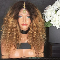 Ombre Kinky Curly Full Lace Human Hair Wigs Blonde Two Tone ...