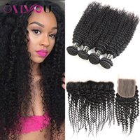 Mongolian Kinky Curly Human Hair Weave 4 Bundles with 4x4 La...