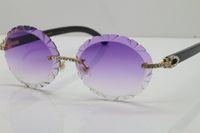 High-End-Hot Sonnenbrillen ovale Linse Schwarz Buffalo Horn Randlos Geschnitzte Linsendicke 3.0 Vintage-Sonnenbrillen Neue Diamant-Glas-Unisex