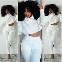 Women Two Pieces Set Knit Fitted Crop Tops Casual Suits 2 pi...