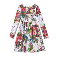 5-12 y vestido de niña estilo de Nueva Inglaterra impresión vestido de princesa vestido de niña primavera / otoño Vestidos infantiles ropa para niños