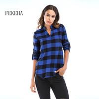 Blouses Femmes Chemises Chemises Fekeha Femmes Plaid 2021 Automne manches longues V tann Dame Chemise Coton Casual Tops Plus Taille 6xL Blusas
