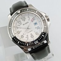 BLIGER 44mm White Dial Leather Bands Black Blue Ceramic Beze...