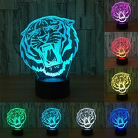 Cute Tiger Head 3D Nightlight Creative Decorative Lamp 7 Col...