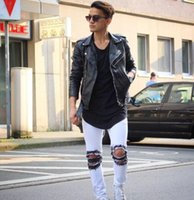 Mens GD Street Destroyed Jeans Black White Holes Biker Jean ...