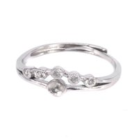 Оптовая стерлингового серебра 925 женщин обручальное кольцо 4-5 мм круглый шарик Жемчужина полу крепление кольцо установка