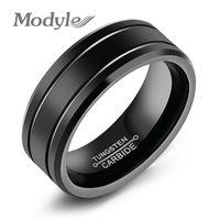 Anello tungsteno nero moda per uomo Tungsteno anello nuziale gioielli moda uomo grande anello