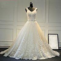 Новый дизайн A-Line Кружева Свадебные платья 2019 V-образным вырезом из бисера створки спинки сексуальные винтажные свадебные платья Китай Интернет-магазин
