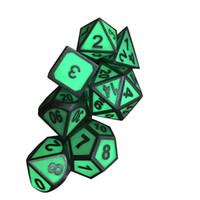 7pc многогранные металлические кости металла светятся в темноте набор для настольных DnD и RPG игр