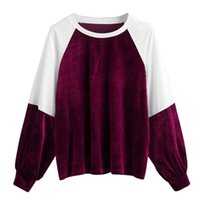 autumn Womens Casual hoodies Patchwork Velvet Long Sleeve Sw...