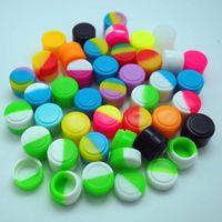 50pcs / lot 2ml mini récipient en silicone de couleur assortie pour les récipients en silicone de forme ronde Dabs cire les pots en silicone