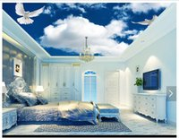 3d wallpaper custom photo ceiling mural wallpaper Simple blu...