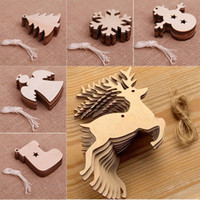 10 stile Holz Weihnachten Hängende Ornamente Unfinished Holz Ornamente mit Löchern für DIY Crafts Christmas Party Dekorationen