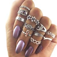 Set di 10 anelli vintage per le donne Boho Anello geometrico in cristallo con fiori Set di midi della Boemia Gioielli con gioielli Bague Femme