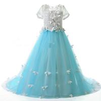 Flower Girl Dresses For Weddings butterfly girls per fotografia cap sleeve le ragazze bianche vestono i primi abiti da comunione