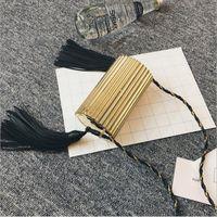 damen metall glänzend quaste abendtasche kupplung taschen handtasche minaudiere frauen party brief cluth silber gold black box kette geldbörse Y18103004