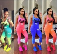 women Love Pink Letter Outfit summer Sleeveless Tank Top Ves...