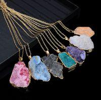 Unground Нерегулярный натуральный камень кулон ожерелье кристалл кварцевые подвески Drusy для женщин DIY ювелирные изделия