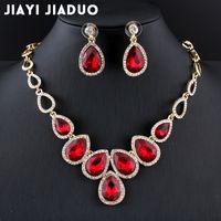 Ganze Salejiayijiaduo Heißer afrikanischer Schmuckset Gold-Farbe Zystal Halskette Set und Ohrringe für Frauen Rot Kristall Hochzeit Schmuck