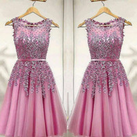 Pink Short Party Dress Lace Appliques Beads Homecoming Dress...