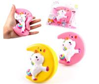 Squishy Moon Pegasus Einhorn Gelb Rosa Zappeln Spielzeug Jumbo Decor Langsam Steigendes Freies Verschiffen SQ 003
