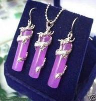 Очаровательный Фиолетовый Нефритовый Серебряный Дракон Серьги Ожерелье Бесплатная Доставка