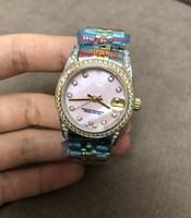 3 ألوان حار بيع الفاخرة النساء الساعات 31 ملليمتر منتصف الحجم الماس 178383 datejust الوردي أبيض شل مؤشر 18 كيلو الذهب ss التلقائي السيدات ساعة اليد