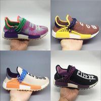 Human Race Livraison gratuite Pharrell Williams trail Hu NERD Chaussures Homme Chaussures de course Top qualité Jaune Bleu sport Chaussures