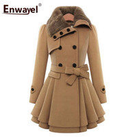 ENWAYEL  2018 Fashion Casual Winter Warm Fur Trench Coats For Women Outerwear Female Double Breasted Thick Coat Femme 9004