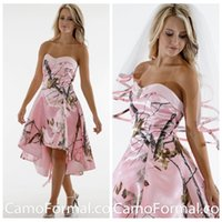 Schöne schatz high low pink camo kurze brautjungfern kleid billig schlank vestidos de brautjungfer party kleider benutzerdefinierte maid of honor