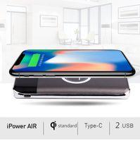 10000mAh Powerbank Batteria esterna Carica rapida Caricatore wireless Powerbank Portable Charger per cellulare per iPhone x 8 8plus con imballaggio