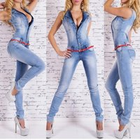 Verano Mujer Profundo escote en velo Monos Jeans Pantalones Sin mangas Denim Blue Pantalones largos Sexy Jeans Romper M-XL