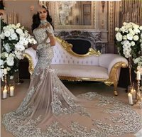New Silver Mermaid Wedding Dresses High Neck Long Sleeves Applique Sequins Beaded Illusion Sparkly Saudi Arabic Bridal Gown Real Image