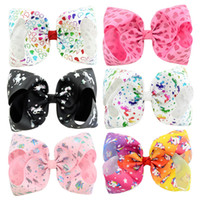 8 pollici accessori per capelli delle neonate Cartoon Hearts Unicorn Forcelle Neonati Big Bow con clip a coccodrillo Kids Boutique Hairbows