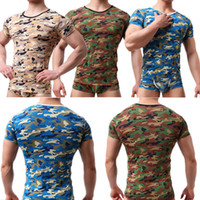 Sports Men' s Camo Basic T- shirt Slim Stretchy Bodybuild...