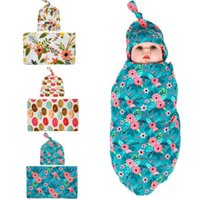 Bébé Swaddle Blanket Set avec nœud Top Hat Cadeau de douche nouveau-né Flower Hospital Waddle ensemble avec capuchon Accessoires de photographie